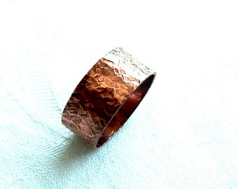Snakeskin Texture, Reptile, Wide Copper Ring, Rustic Ring for Man, Rustic Wedding Ring, Gift for Him, Guys Ring, Unisex