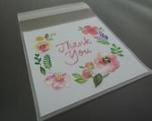 Clear Plastic Bags Self Adhesive Plastic Transparent White Small Gift Bag with Thank You Word 48pcs
