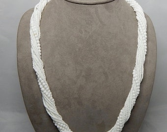 Multi-Strand White Glass Seed Bead Necklace & Earrings set