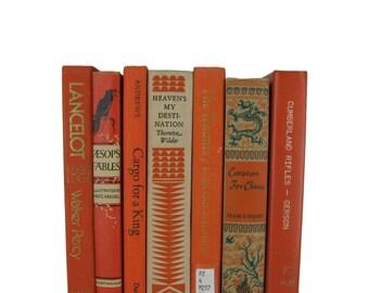 Orange vintage books , book decor , wedding decor , home decor ,  old books , books for wedding ,  photo props , interior design