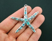 Starfish Pendant Charms Antique Silver Tone with Inlaid Rhinestones - SC5745