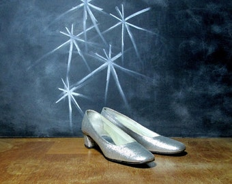 Vintage Silver Pumps - 1960s Brocade Metallic Mod - Size 6 - Euro 36 - Wedding Shoes - Mid Century Modern 60s