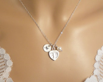 Baby Footprint & Birthstone, New Mom Necklace, 1 Birthstone, 1 Personalized Initial, all Solid Sterling Silver ,  3-DBaby Feet Heart Charm