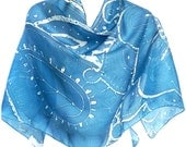 Henna Art Scarf Blue Scarf Indian Silk Scarf Gift for friend Blue silk scarf Women scarf Hand Painted Silk Scarf Unique scarf Made in Canada