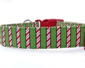 Christmas Dog Collar / Candy Cane Dog Collar / Red Green Dog Collar / Christmas Collar / Peppermint Dog Collar / Candy Cane Stripe Collar