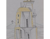 House in the Desert illustration drawing original building tower