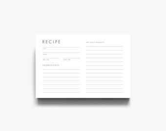 Modern Recipe Card, Downloadable Recipe Card, Printable Recipe Cards, Card Recipe, Recipe Cards Printable, Recipe Card Template
