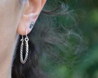 Sterling Silver Dangle Earrings, Twisted Earrings, Rope Earrings, Drop Earrings, Handmade, Oxidized and Shiny Polished Finish