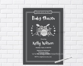 Drum set Baby Shower Invitation, Vintage birthday invitation,  Music Retro baby shower invitation baby boy Shower Design - card 187