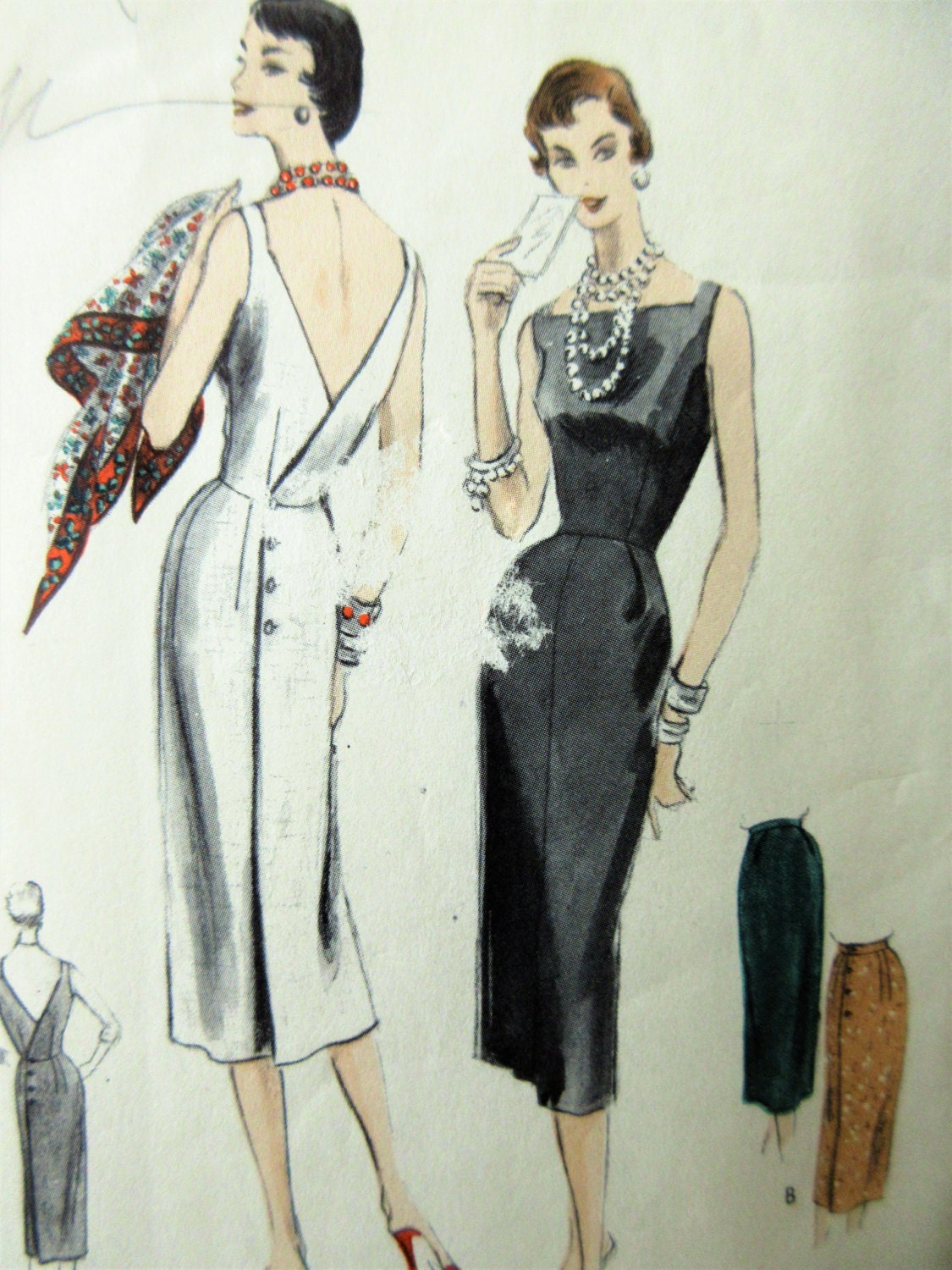 Vintage Vogue 8522 Sewing Pattern 1950s Wiggle Dress Bust