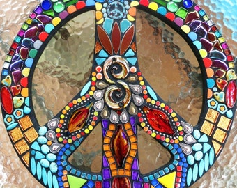 """MOSAIC PEACE Sign - 16"""" Round - Hippie / Bohemian Art - Custom Order - Glass Gems & Beads, Turquoise Stones and Silver Teardrops - OOAK"""