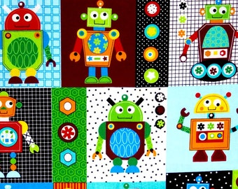 Robots Fabric, boys fabric, kids fabric, 100% cotton for Quilting, arts, crafts and all sewing projects.