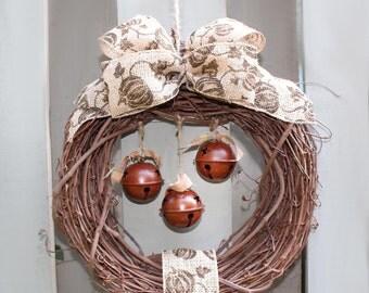 Autumn Wreath, Rustic Grapevine, Beige Pumpkin Ribbon, Aged Copper Bells