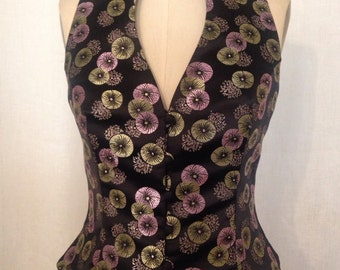 Black & Gold Asian Brocade Fitted Vest
