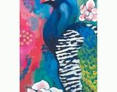 Peacock GREETING CARD - peacock art, peacock painting, bird art, turquoise, pink, magnolias, flower painting