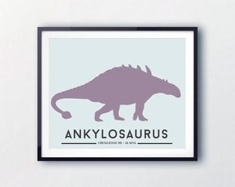 Dinosaur Nursery Art, Wall Art for Babys Room, Prints for Nursery, Dinosaur decor, Toddlers, Boys, Ankylosaurus