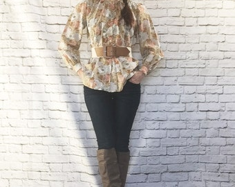 Vintage 70s Pop Art Floral High Collar Blouse Tunic Top Puff Sleeves Pink Beige Bohemian