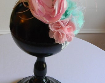 Satin Flower Headband Pink and Mint Flowers w/ Rhinestone Center Feathers Lace Birthday Party Girl Toddler Baby Shower Photo Shoot Boutique