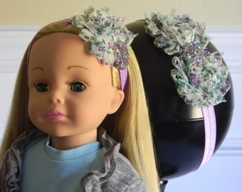 "Doll & Me Headband Set Ivory and Purple Floral Print Flower w/ Rhinestone Center Girl and 18"" Doll Accessory Christmas Birthday Girl Gift"
