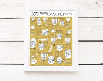 "vegan egg replacement poster - 11""x14"" kitchen art print - customizable color"