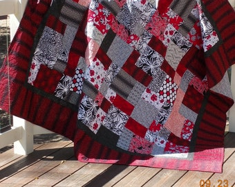 LAP QUILT. Red White Black. Father's Day gift. Gifts for dad.  Gifts for mom. Wedding Gift.