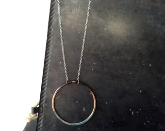 Hammered Pantina and Copper Ring Pendant