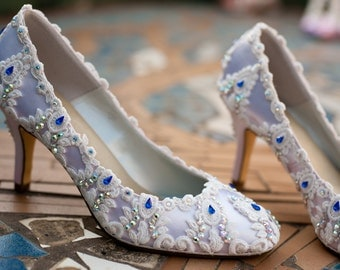 Ivory lace Swarovski crystal heels- Something Blue crystal shoes- The Briar Rose