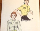 Butterick 5691 Button Down Tuck in Blouse with Shirred U Shaped Yoke Women's Misses Vintage 1950s Sewing Pattern Bust 32 Uncut Factory Folds