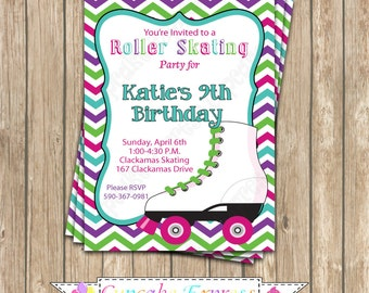 Roller Skating Invitation Birthday Party  PRINTABLE Invitation 5x7 4x6 teal purple pink rollerskate - Cupcake Express