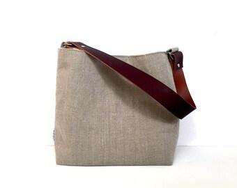 Natural Linen Hobo Bag Small - Linen Purse