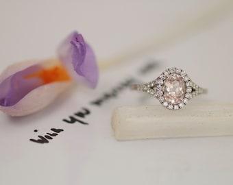 Pink Champagne Sapphire 1.19ct Split Shank Diamond Halo Engagement Ring Gemstone Engagement Ring