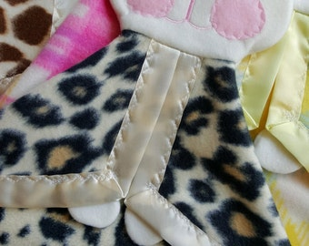 Animal print Fisher Price Bunny replica puppet lovey blanket