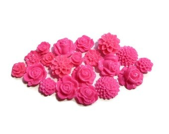 Resin Cabochon - Hot Pink Flower Mix - 9mm to 15mm - 10 or more pairs - 20 or more pieces - Mum Rose Chrysanthemum Dahlia