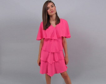 Vintage 80s Dress,  Ruffle Tiered Dress, Hot Pink Dress, Linen Dress Δ size: xs / sm