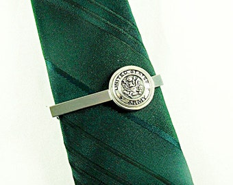 United States Army Silver Framed Tie Clip Tie Bar Active Duty Reserve Retired Wedding Accessory Mens Accessory