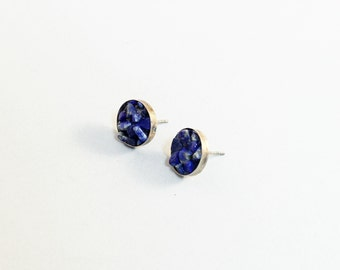Lapis earrings sterling silver lapis lazuli studs gemstone lapis lazuli earring blue post earrings
