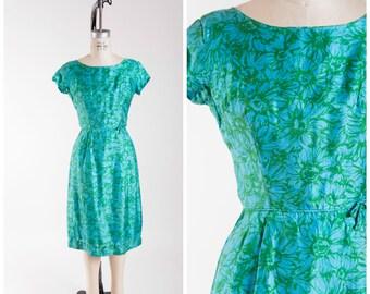 1950s Vintage Dress Turquoise Blue Green Silk Vintage 50s Sheath Dress Size Small