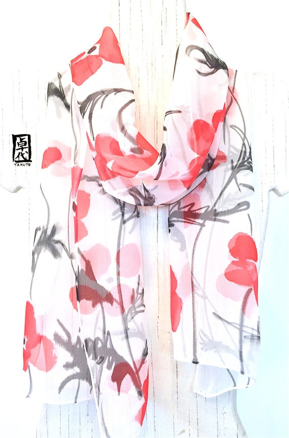 Silk Scarf Handpainted, Red Poppies Scarf, ETSY asap, Gift for her, Gift for Women, Summer scarf, Silk Chiffon Scarf, 11x60 inches.