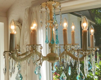 HOLD FOR DAWN          10 Light 5 Arm Vintage Italian Chandelier Featuring Aqua Crystals