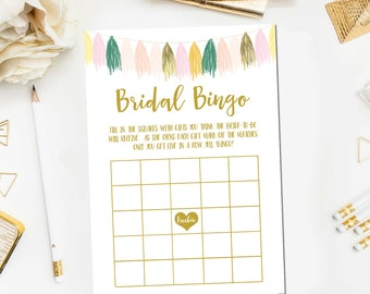 Pink Mint Gold Bridal Shower Bingo Printable Game Instant Download Bridal Shower Game Tassel Bridal Shower Bridal Printable BR32