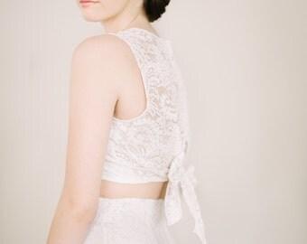 Joni Sleeveless Lace Crop Top // STUNNING Bohemian Wedding Dress //Crop Top Tie Back // Boho Bride // Lace Wedding Dress // Bridal Separates