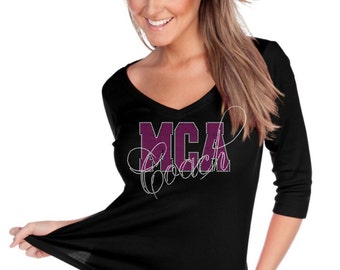 Bling Custom Rhinestone MCA Cheer Coach Glam Bedazzled Shirt