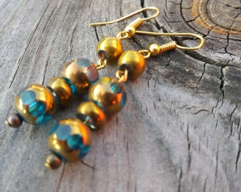 Pretty gold and turquoise dangle earrings