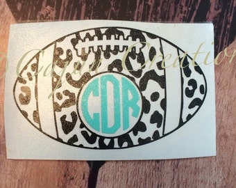 Monogram decal, laptop decal, football decal, vinyl decal, personalized decal, leopard print decal, computer decal, monogram gifts