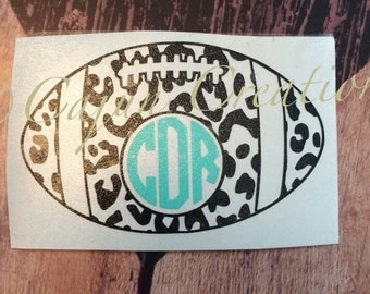 Monogram decal, car decal, football decal, leopard decal, vinyl decal, vehicle decal, personalized decal, leopard print, monogram gifts