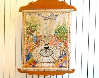 handmade vintage embroidery fountain and garden scene