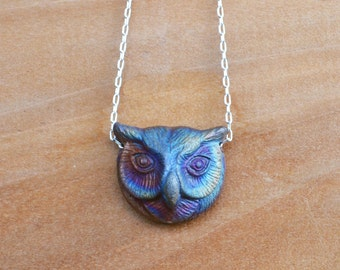 Owl Necklace, Raku Jewelry, Ceramic Owl Necklace, Rainbow Colors, Unique Owl, Owl Gift, Owl Head Necklace, Owl, Rainbow Raku, Owl Jewelry
