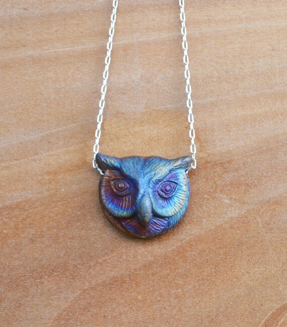 Owl Necklace, Raku Jewelry, Ceramic Owl Necklace, Rainbow Colors, Unique Owl, Owl Gift, Owl Head Necklace, Owl, Rainbow Raku, Owl Jewelry