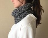Chunky Knit Cowl Neckwarmer, Lace Circle Scarf   Charcoal Gray   Vegan Yarn