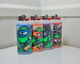 Teenage Mutant Ninja Turtles Perler Bead LIGHTER CASES - leonardo - michelangelo - donatello - raphael